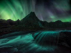 Watercolour (Ryan Dyar) Tags: lofotenislands mountains mountain cascade stream creek waterfall water autumn fall astro sky night northernlights auroraborealis aurora arctic stortind stortinden lofoten codywilson norway