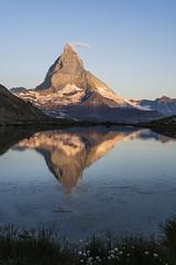 Matterhorn and Riffelsee, morning (explored) (birgitmischewski) Tags: matterhorn riffelsee zermatt wallis schweiz switzerland earlymorning reflection water lake spiegelung olympus