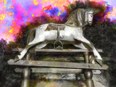The Magic of the White Rocker (Steve Taylor (Photography)) Tags: rockinghorse stirrup stand horse digitalart toy colourful dark wooden texture pollockstoymuseum antique mane