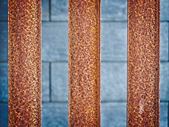 Rusty RSJs against grey wall (Steve Brewer Photos) Tags: iceland reykjavik minimalist abstract geometric geometrical colour color line lines pattern repetition minimal