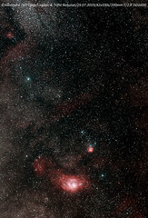 Lagoon & Trifid (achrntatrps) Tags: nikkor70200mmf28gvr nébuleusedulagon lagoonnebula m8 sh225 rcw146 nébuleusetrifide trifidnebula m20 ngc6514 sh230 nightshot d5300 nikon photographe photographer alexandredellolivo dellolivo lesbayards suisse nuit night nacht achrntatrps achrnt atrps radon200226 radon etoiles stars sterne estrellas stelle astronomie astronomy nicht noche notte suivi astrophotographie eosforastro astrotrac320x hii regionhalpha