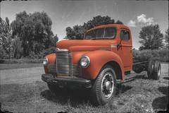 Orange (* Gemini-6 * (on&off)) Tags: selectivecolor blackandwhite monochrome grunge orange sky clouds hdr chrome truck international transportation vehicle wideangle