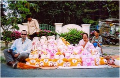 'Fluffy rabbits and a fat pig', by Chris Watson. (sadly missed) (the jacal) Tags: cambodiaasia asia southeastasia phnompenh toys tonlésap riverside nikon cambodge cambodia rabbit bunny happyplanet asiafavorites