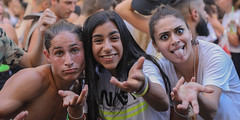 A three wise monkeys (and their trainer) (ybiberman) Tags: israel jerusalem citycenter party summerparty streetparty technoparty girls maidens boy portrait candid streetphotography dancing fun frontstage documentary stickingtongue tongue smile piercing
