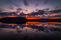 Exploding (mabuli90) Tags: finland nature landscape sky clouds sunset night forest tree longexposure north karelia reflection water suomi