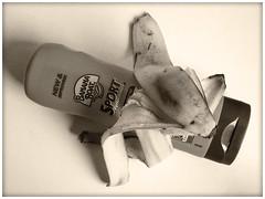 Summer Essentials (LeftCoastKenny) Tags: utata ironphotographer sunscreen lotion banana peel sepia utata:project=ip287 utata:description=hide