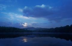 Price Lake Moonset (R. Keith Clontz) Tags: moonlight night nightscape lake pricelake grandfathermountain northcarolina keithclontz reflections moonset blueridgeparkway blue