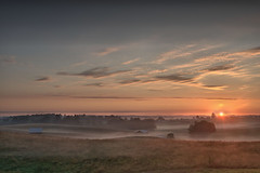 Early Rise (somewheredowntheroadphoto) Tags: sunrise morning mornings light daytime shadow shadows fog foggy field country clouds cloudy sky barn