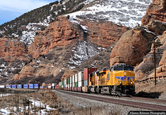 Echoing through Echo Canyon (jamesbelmont) Tags: unionpacific echocanyon utah baskin evanstonsubdivision kltg2 containers doublestack ge es44ac snow train railroad railway locomotive