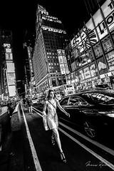 Night Walking (Mario Rasso) Tags: mariorasso people lifestyle street streetphotography newyork manhattan timessquare usa girl woman urban style blackandwhite blackwhite blancoynegro