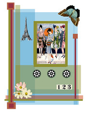 dress pattern (ladybumblebee) Tags: digitalart digitalcollage layers dresspattern collage art contemporarywomenartists