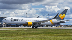 Condor almost there! (LeoMuse747) Tags: condor flugdienst boeing 767300er 767330er dabuh fortaleza pinto martins intl airport for sbfz germany fraport touchdown planespotting planespotter nikon d7200 nikkor 18140mm vr camera lens dslr tmafortaleza ceará brasil brazil blended winglets clouds
