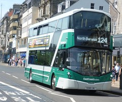 East Coast Buses 20007 is coastbound on Princes Street, Edinburgh. (calderwoodroy) Tags: bus scotland edinburgh princesstreet doubledecker lothian lothianbuses lothian100 eastcoastbuses lothianbusescentenary edinburghtransport 20007 service124 volvo sg68lbu wrightbus b5tl eclipsegemini
