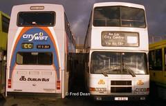 Dublin Bus RV354 (97D354) & RA242 (95D242). (Fred Dean Jnr) Tags: dublinbus summerhill dublin volvo olympian alexander rh rv354 97d354 ra242 95d242 summerhillgaragedublin november1997 cityswift weddingbus busathacliath n724fkk