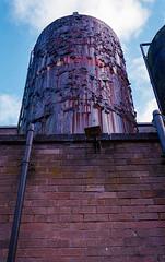 purple peeler (Mano Green) Tags: industrial paint peel purple pipe kendal cumbria england uk october 2016 autumn canon eos 300 40mm kodak gold 200 35mm film epson perfection v550