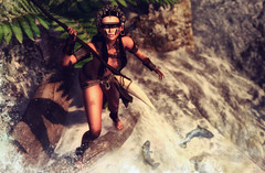 Stream of life (♛ Baronne ♛) Tags: secondlife tribe tribal indian river torrent water fall mademoiselle look lotd belleepoque spear dm mad ethnic ethnicity tableauvivant azoury shadow pic picture photographer fish fishing fisher mud mark tan theforge cuff braces belt leather cuir fashion style mode model pose chasse hunt hunter skirt skull indigenous nature skye mesh vg game 3d avatar blackdragon pov legs