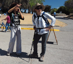 Two to go (LeftCoastKenny) Tags: baylandsnaturepreserve shorelinepark hikers hill trees grass pavement