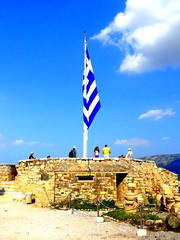 Acropolis. Observation Deck (dimaruss34) Tags: newyork brooklyn dmitriyfomenko image sky clouds skyline greece athens acropolis panoramicview observationdeck ruins pole flag people mountains