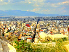 Athens Panoramic View from the Acropolis Observation Deck (dimaruss34) Tags: newyork brooklyn dmitriyfomenko image sky clouds skyline greece athens acropolis panoramicview observationdeck ruins buildings city grass pole flag mountains