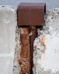 "Construction zone (FlckrFriday ""Brown"") (cwreace) Tags: abstract fujixt20 artsyfartsy 58mm helios44m lyndhurstnj flickrfriday brown"