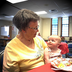 two trouble makers (backbeatb00gie) Tags: mom grandmother grandma baby family grandparents talking