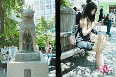Random Shibuya (Jon Siegel) Tags: nikon nikones2 es2 filmdigitizer filmdigitiser scanning film woman girl shibuya hachiko statue japan japanese people d810