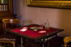(Laszlo Papinot) Tags: fffphotowalk werribee werribeemansion werribeepark interior table card chair glass bottle decanter