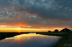 Sunset Ilperveld (Johan Konz) Tags: sunset sky cloud reflection water netherlands field grass landscape outdoor watercourse waterland waterscape ilpendam nikon cloudy ilperveld d7500