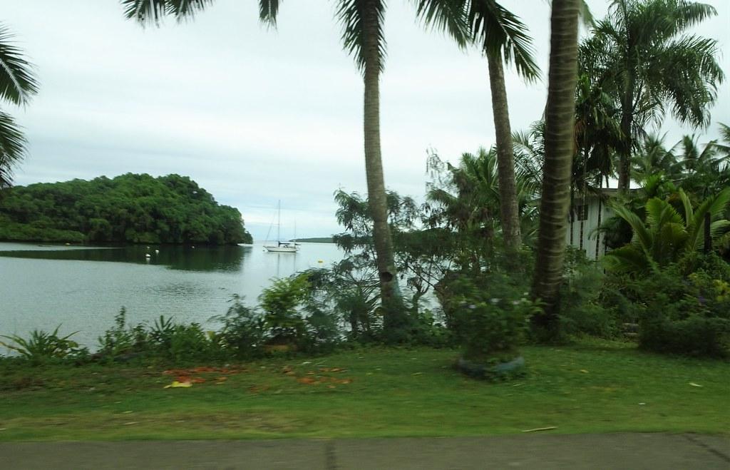 Suva. Fiji. Bay and boat on the outskirts of Suva the national capital.