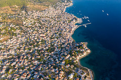 Aerial view of mediterranean houses on the Greek Island of Spetses, 2.5 kilometres off the Argolis coast