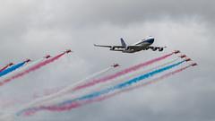 B747 + Reds - RIAT 2019 (live2aviate) Tags: riat2019 formation britishairways redarrows boac b747400 jumbojet ba100 100yearsofbritishairways