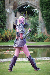 Portrait from Fantasy Forest at Sudeley Castle, July 2019 (Gordon.A) Tags: sudeley castle winchcombe gloucestershire england uk fantasy forest july 2019 festival event creative costume design style lifestyle culture subculture night elf world warcraft cosplay cosplayer pretty lady woman people face model pose posed posing outdoor outdoors outside grass naturallight colour colours color colors amateur portrait portraiture photography digital canon eos 750d sigma sigma50100mmf18dc