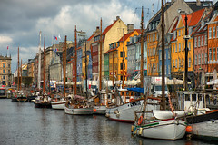 The New Nyhavn Harbour (Pat Charles) Tags: copenhagen denmark kobenhavn københavn danemark danish nyhavn newharbour newharbor architecture architectural building buildings houses homes apartment apartments tourism tourist touristy sailing boat boats sail mast clouds storm stormy nikon travel 1001nights