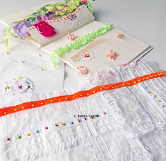 a little stitched book and some hand embroidery (contemporary embroidery) Tags: embroidery stitchedpaper paper ribbon stitchedbook book