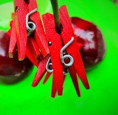 """Red & Green"" HMM (seanwalsh4) Tags: hmm seanwalsh redgreen redminipegs cherries macro colourfulmacroimage macromondays complementarycolours 1inchinlengthminiartpegs lovepeace"