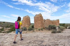 Exploring Hovenweep Castle (aaronrhawkins) Tags: hovenweep nationalmonument ruins nativeamerican anasazi utah castle structure rock sandstone tour visit hike hiking kellie building ruin ancient civilization aaronhawkins