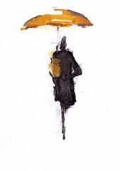 Dans les rues - Le parapluie jaune [20190714]-2 (rodneyvdb) Tags: street art illustration ink drawing ethereal fleeting woman rain fashion umbrella femme pluie vogue parapluie