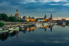 Dresden Old Town Silhouette (Björn Hempel) Tags: germany dresden oldtown river sky sunlight clouds boats reflections castles transportation evening frauenkirche