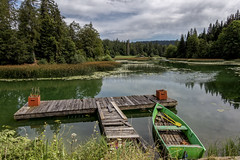 La barque verte et le ponton (Lucille-bs) Tags: europe france bourgognefranchecomté franchecomté doubs paysage lacdestpoint barque ponton lac nature barqueverte