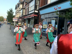Singleton Cloggers Dancing with Fylde Coast Cloggers (opalpics) Tags: singletoncloggers fyldecoastcloggers stannes number10 morris dancing traditional lancashire