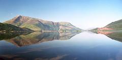 Loch Leven pano (Francis Mansell) Tags: beinnabheithir panorama pano lochleven loch sea water reflection scan scanned scannedfromnegative negative scotland scottishhighlands mountain invercoe