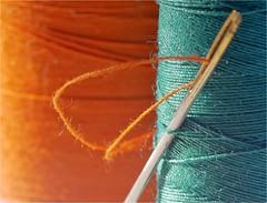 Threaded ! (jesse1dog) Tags: complementarycolours macromondays thread spool reel needle seagreen flame lumixgm1 russian jupiter11 135mm extensiontubes tabletop macro vintageprime bokah