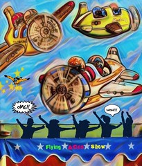 Flying Aces Cartoon (scilit) Tags: cartoon planes vivid pilots parachutists show flying flyingaces crowd cheers fun art shockofthenew colorful toys challenge painted tent ticketbooth carnival fair photomanipulation