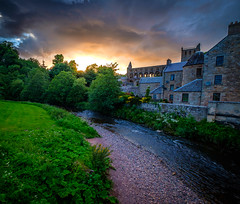 Warm evening in Jedburgh (dannygreyton) Tags: sunset scotland clouds fujifilm river castle grass jedburgh england evening travel stream europe sky jedburghabbey