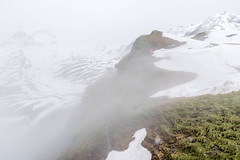 Misty summer in Alps (wounderful0) Tags: mountain peak snow grass rocks rock cloud mist white green landscape nature first summit switzerland alps travel sky beautiful view tourism vacation cold outdoor winter spring summer high background scenic hill top season ice ski snowy alpine resort day