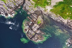 Coastal Rockery (ShinyPhotoScotland) Tags: blue sea dykes abstract colour nature beautiful rock stone landscape coast scotland rocks shapes aerial geology westcoast hdr drone glenuig dji lamprophyre smirisary psammite snapseed mavic2pro dyke sedimentary metamorphic