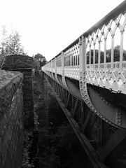 Both viaducts at Millers Dale.  (Former Derby - Manchester line)   August 2019.  B/W version (dave_attrill) Tags: bridge viaduct restored millersdale station monsaltrail disused railway line trackbed footpath bridleway cyclepath derbyshire peakdistrict nationalpark wyevalley buxton derbytomanchester midland august 2019 closed1968