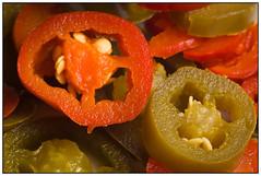Jalapenos RED & GREEN (EddieAC) Tags: macromondays complementarycolours jalapenos food macro redgreen