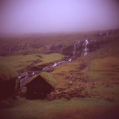Saksun (breakbeat) Tags: kmfaroe19001 mediumformat holga fujivelvia100 saksun faroeislands rtavelgoals misty summer waterfall roof house turf