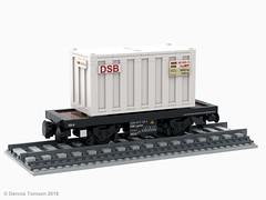 DSB Litra Lgmns (dennis.tomsen) Tags: dsb danish wagon freightcar railroad rail lego train lgmns partdesigner studio flatcar moc ldd render model legodigitaldesigner rollingstock dbcargoscandinavia scandia flat container